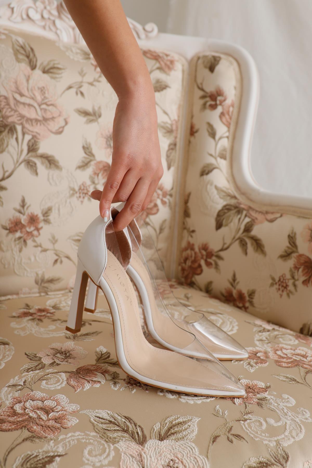 Limoya Laurel Beyaz Şeffaf Ince Topuklu Sivri Burunlu Stiletto 2