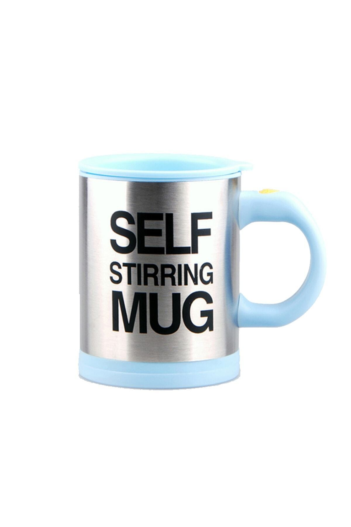 Patladı Gitti Kendi Kendini Karıştıran Mikser Kupa Termos Bardak; Self Stirring Mug - Açık Mavi 1