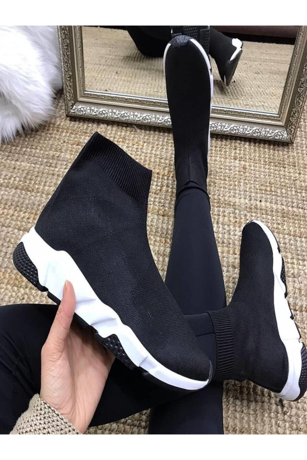 NOVELYA Kadın Siyah Çoraplı Yüksek Taban Sneakers Ayakkabı 2