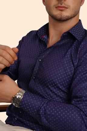 Etikmen Erkek Gece Mavisi Slimfit Gömlek