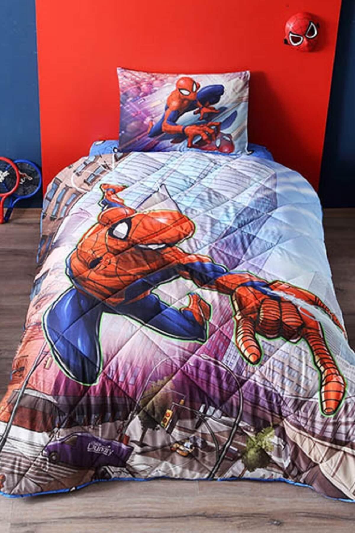 Taç Lisanslı Tek Kişilik Yorgan Seti - Spiderman 1