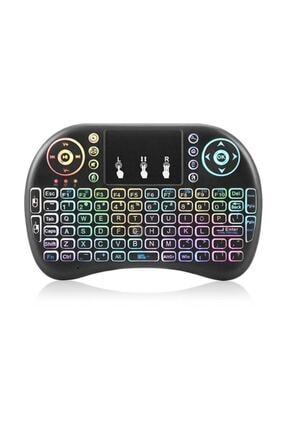 Gomax Kablosuz Led Işıklı Bluetooth Türkçe Mini Klavye Mouse Smart Tv Box - Siyah