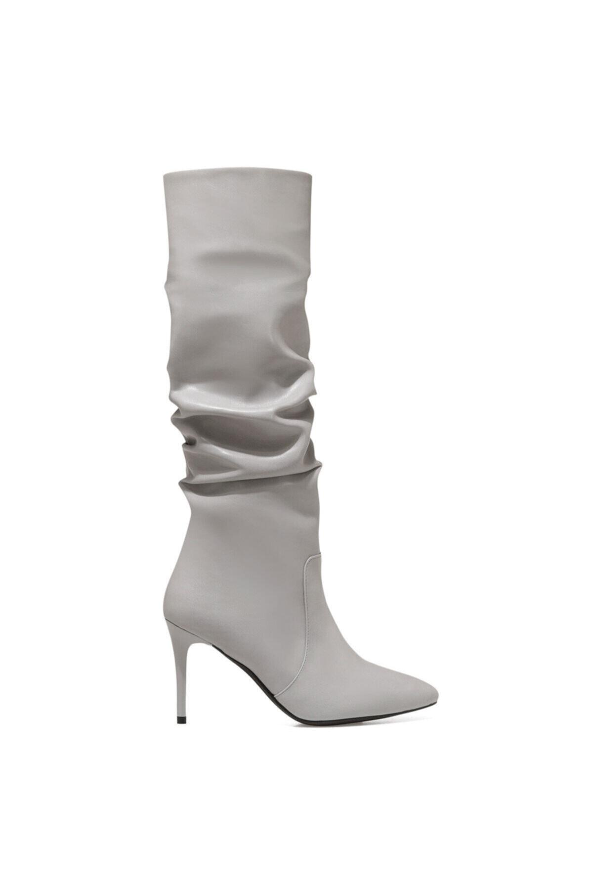 Nine West PINTO Gri Kadın Ökçeli Çizme 100582071 1