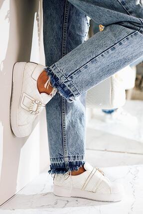 Limoya Kayleigh Beyaz Taşlı Cırtlı Sneakers