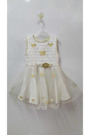 Dandini Kız Çocuk Kelebekli Tüllü Kemer Detaylı Çantalı Elbise