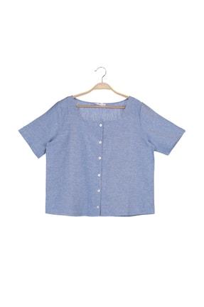 MANGO Woman Kadın Mavi Bluz 43087696