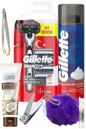 Gillette Mach3 Milli Takım Tıraş Makinesi 5 Yedek Bıçak+ Köpük Normal Ciltler İçin 200 ml 7prç