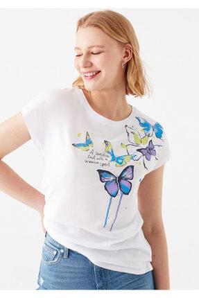 Mavi Beyaz Kelebek Baskılı Tişört