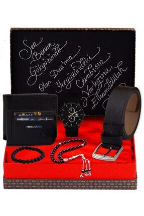 HediyeSepete Siyah Saat & Kemer & Cüzdan & Tesbih & Bileklik & Kartlık Hediye Seti 11