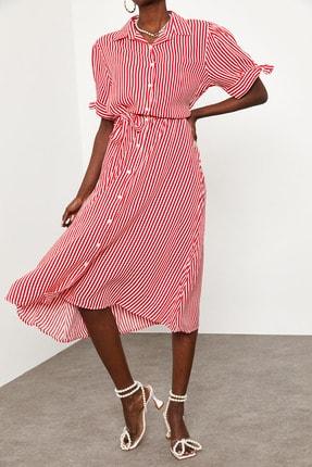 XENA Kadın Kırmızı Çizgili Gömlek Elbise 1KZK6-11616-04