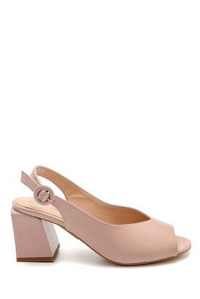 Derimod Kadın Pudra Deri Topuklu Sandalet