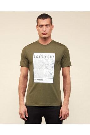 SKECHERS Graphic Tee M Crew Neck T-Shirt Erkek Haki Tshirt