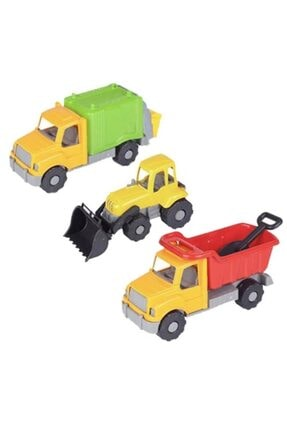 KETSAN Sağlam Plastik 3'lü Kamyon Traktör Çöp Kamyonu - Ks-764