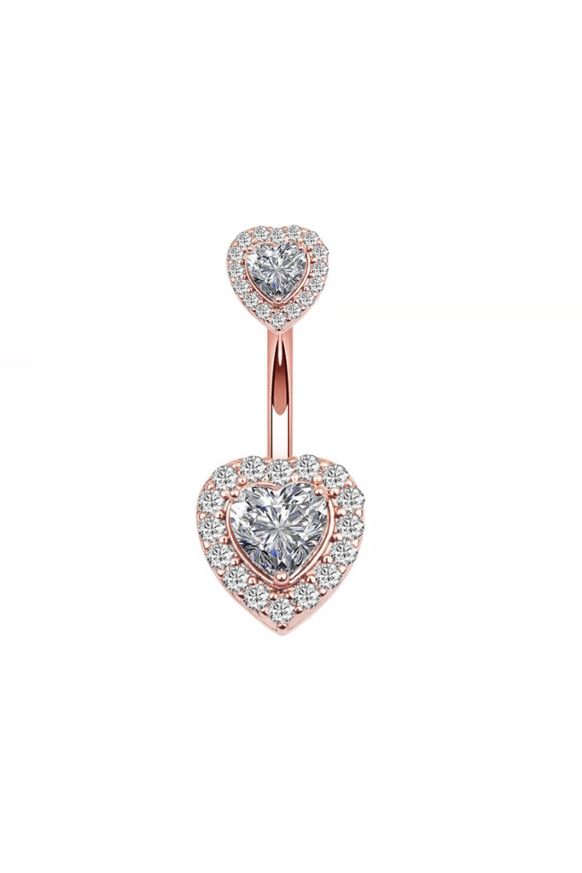 Chavin Kadın Rose Çift Kalp Taşlı Komple Taşlı Göbek Piercing Eg58rs 1