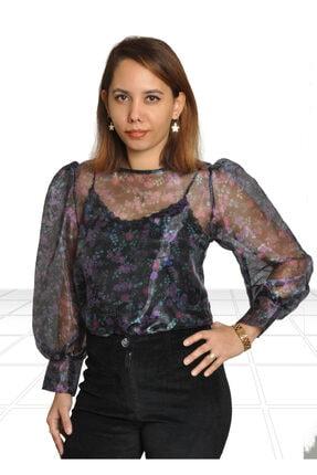 Robin Siyah Renkli Çiçekli Transparan Bluz