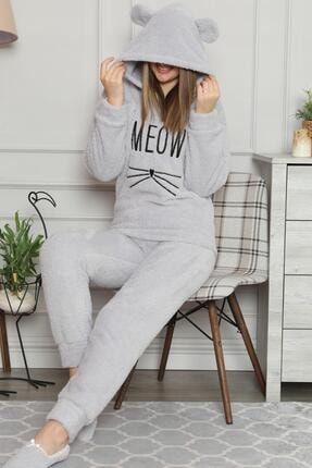 Pijamaevi Kadın Gri Meow Desenli Tam Peluş Pijama Takımı