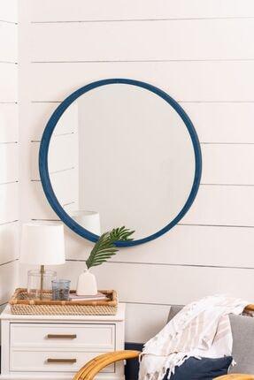 bluecape Doğal Ağaç Masif 60cm Mavi Çerçeveli Antre Koridor Duvar Salon Banyo Ofis Çocuk Yatak Odası Ayna