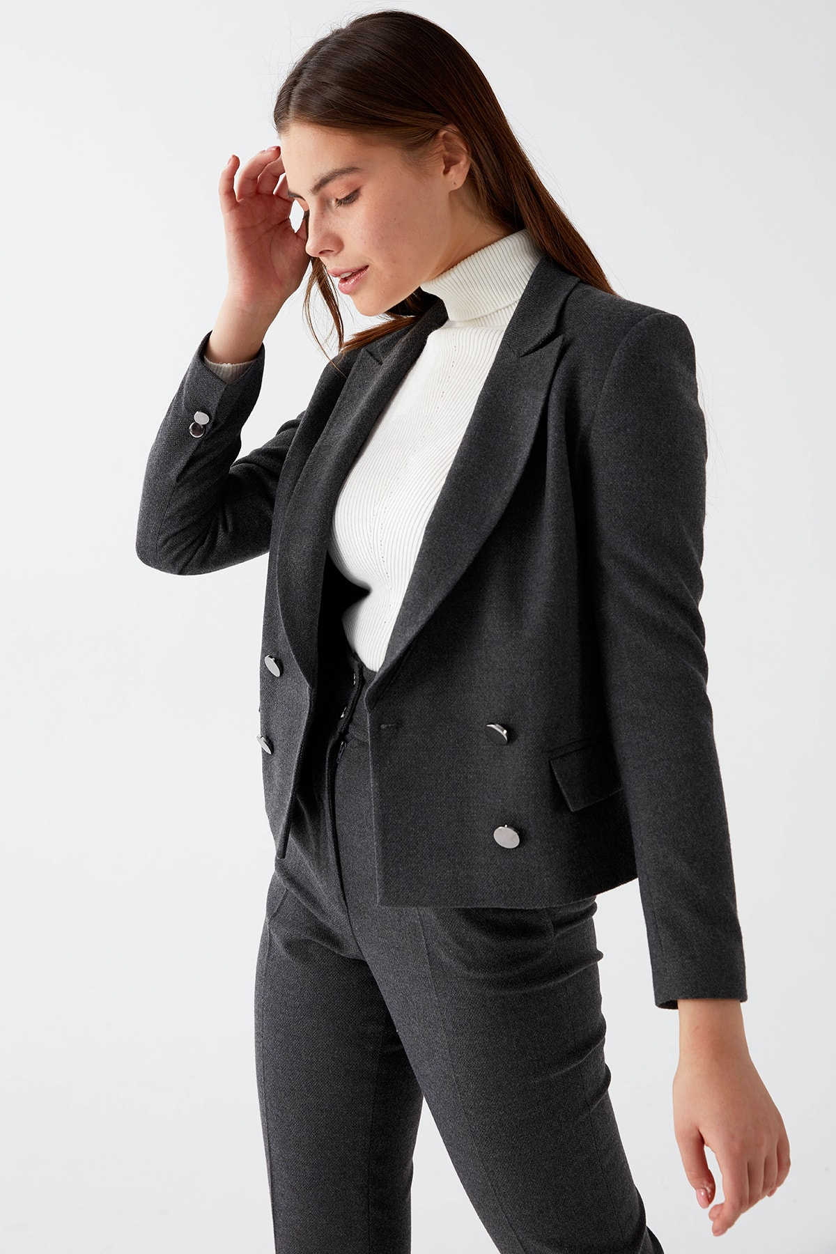 Chima Kadın Gri Kruvaze Crop Ceket 1