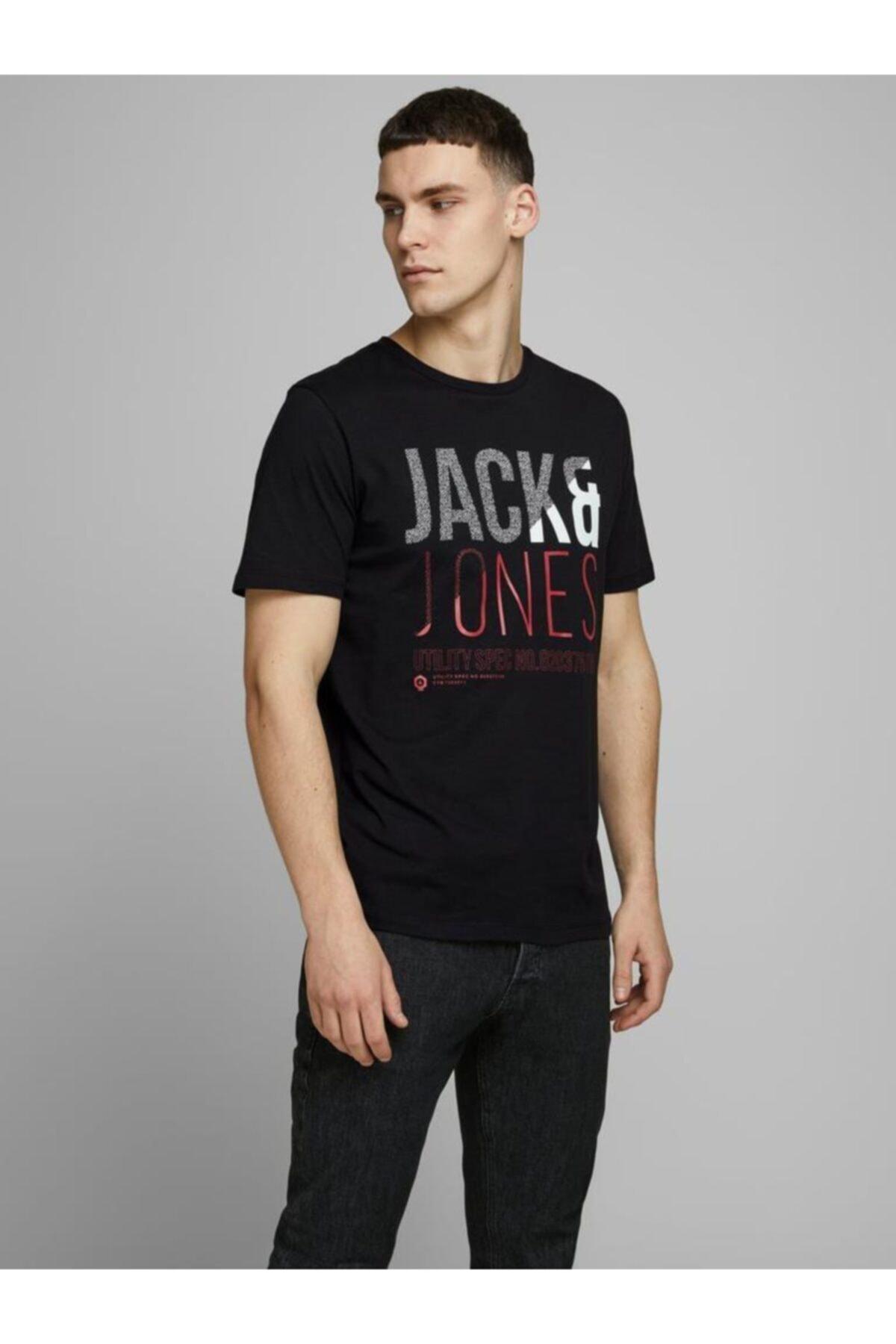 Jack & Jones Erkek Lacivert Baskılı T Shirt 12172215 1