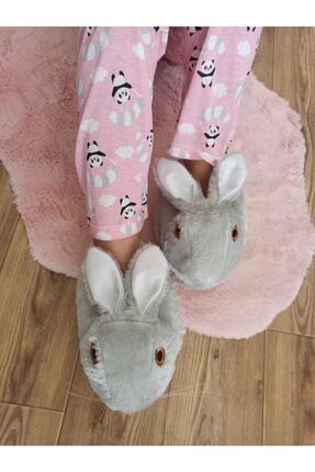 Şura19 Kadın Gri Tavşanlı Panduf Ev Ayakkabısı