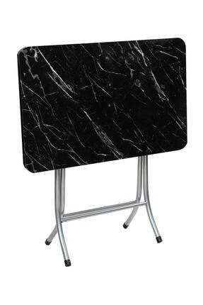 Akkaya Ticaret Katlanır Kırma Siyah Mermer 60x90 Katlanabilir Masa