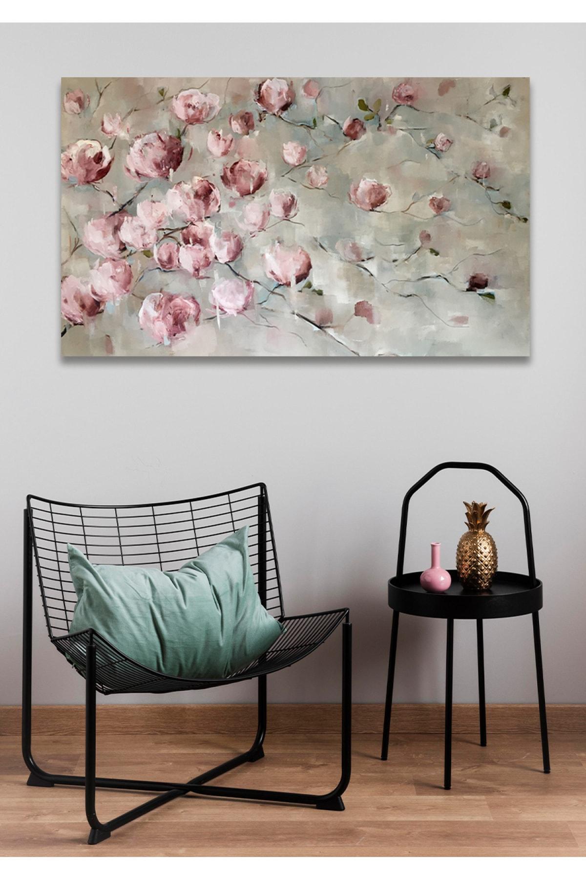 Hediyeler Kapında Pembe Çiçek Duvar Kanvas Tablo 70x100 1