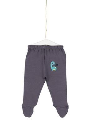 Aziz Bebe Erkek Çocuk Gri Little Dino Nakışlı Patikli Pantolon