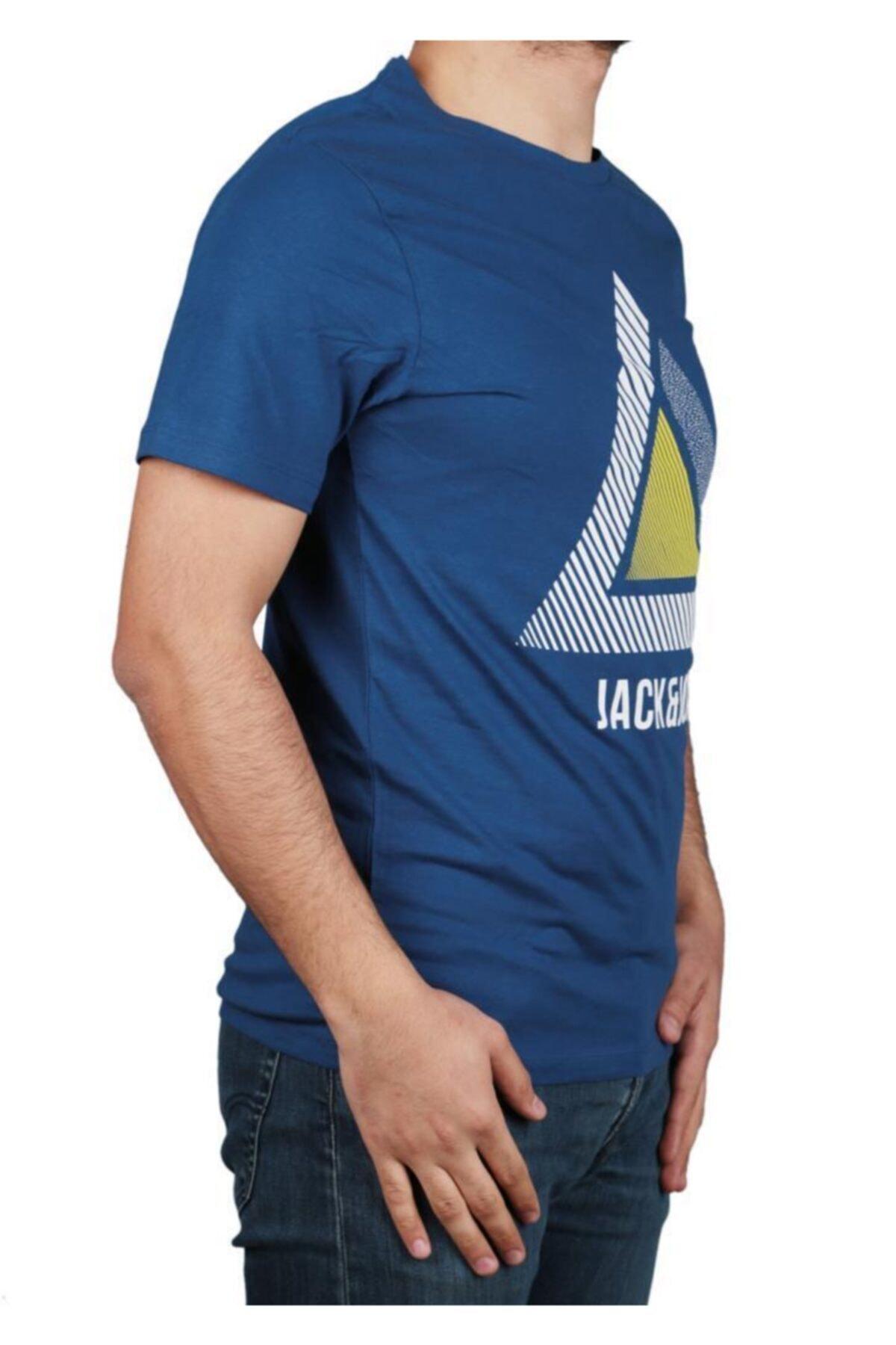 Jack & Jones Erkek Mavi T Shirt 2