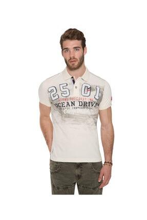Camp David Erkek Polo Yaka T-shirt Krem