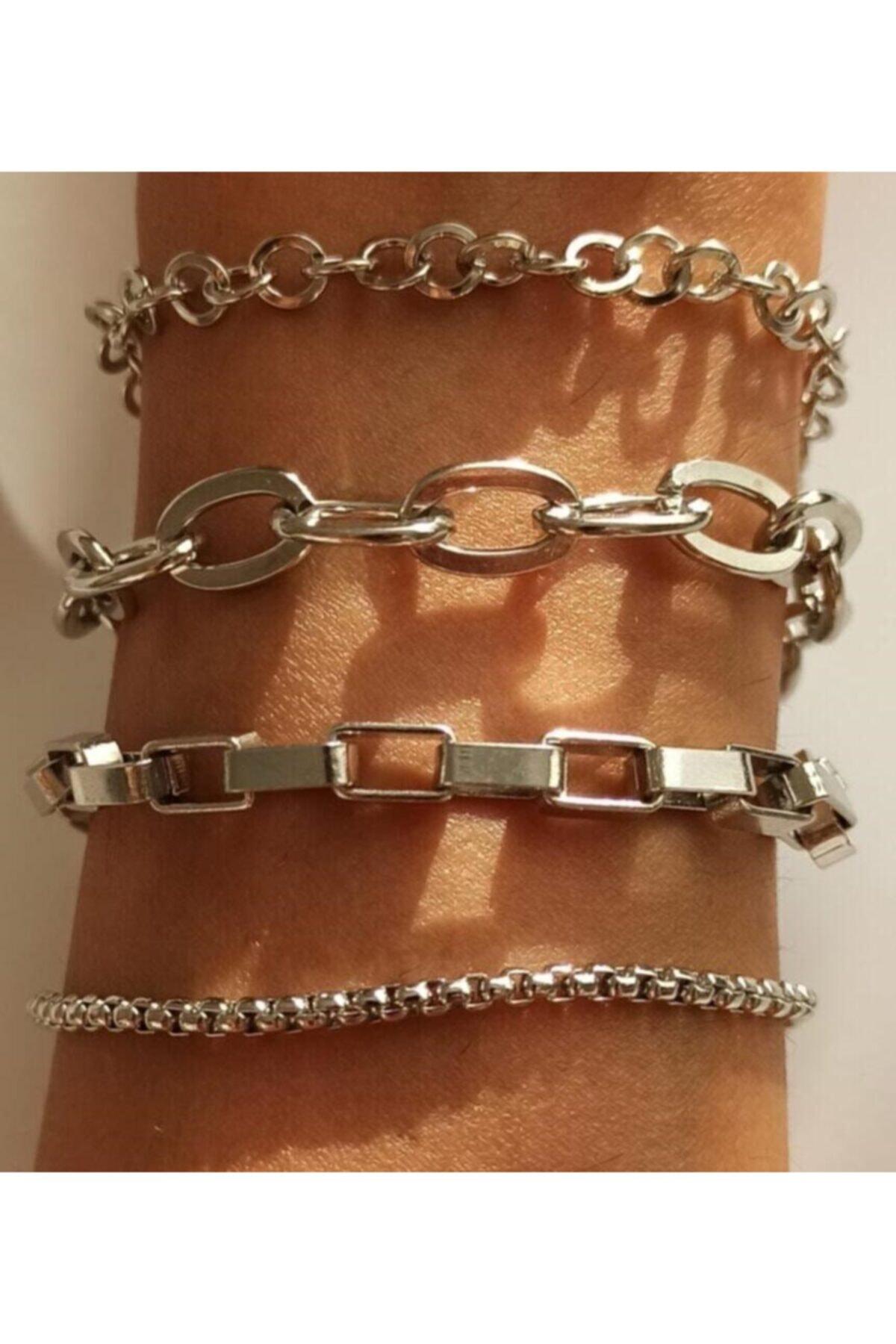 X-Lady Accessories Kadın Gümüş Kombin Bileklik Set 4 Lü 1
