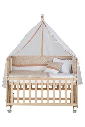 Babycom Anne Yanı Doğal Boyasız Ahşap Kademeli Beşik 70x130 - Tekerlekli + Kahve Yıldızlı Uyku Seti
