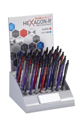 Scrikss Hexagon-r Versatil Kalem (mekanik Kurşun Kalem) 0.5mm + 0.7mm Karışık Renk (40 Lı Stand)