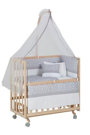 Babycom Anne Yanı Naturel Boyasız 50*90 Ahşap Beşik - Tekerlekli + Gri Yıldızlı Uyku Seti
