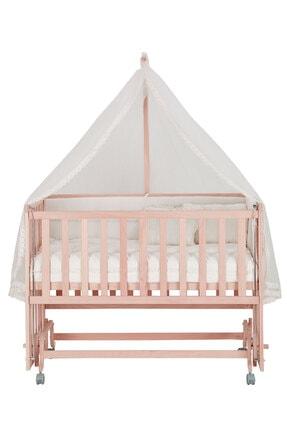 Babycom Naturel Ahşap Boyasız Anne Yanı Beşik 70 X 130 - Tekerlekli - Kademeli Beşik + Uyku Seti