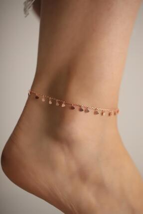 İzla Design Sıralı Kalp Model Rose Kaplama Gümüş İtalyan Halhal
