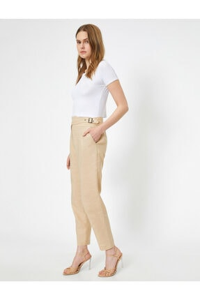 Koton Kadın Ekru Kemer Detaylı Pantolon