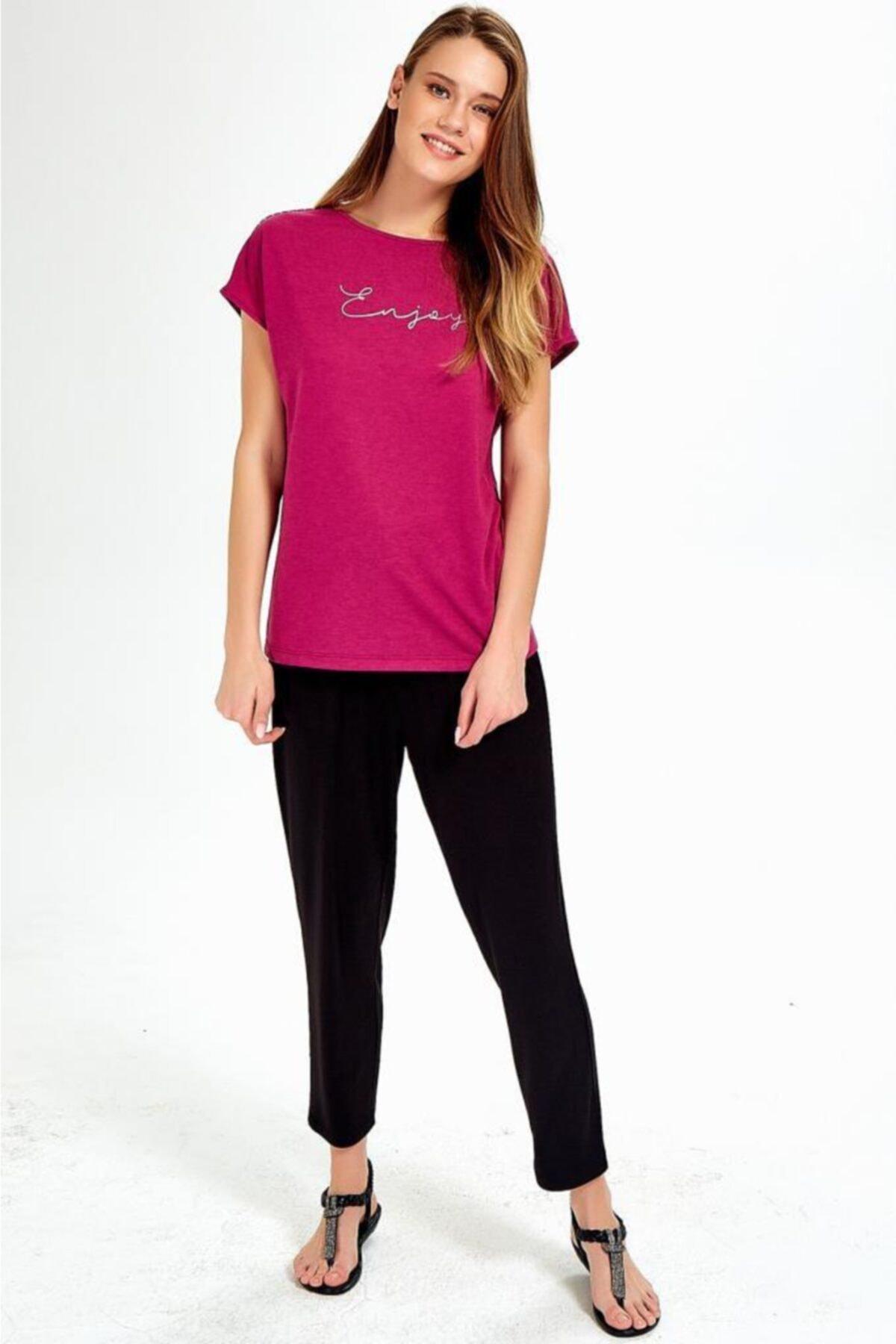 İKİLER Kadın Fuşya Önü Baskılı Omuzları Simli Şeritli Bluz 2