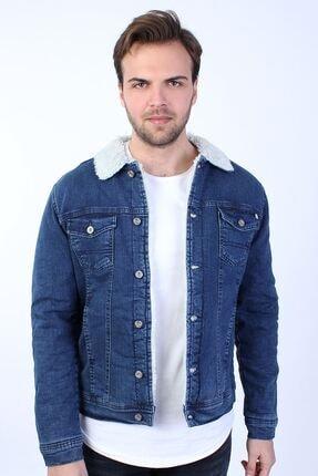 LTC Jeans Içi Beyaz Kürklü Mavi Erkek Kot Ceket