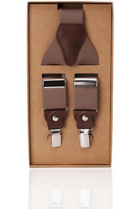 Kravatkolik Erkek Kahverengi Deri Bağlantılı Pantolon Askısı Pan48