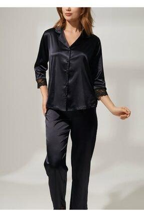SUWEN Kadın Siyah Latte Lace Saten Pijama Seti