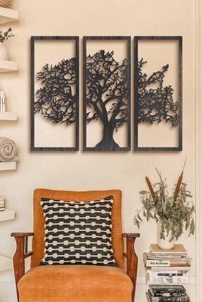 Alfanua Son Bahar 3'lü Siyah Çınar Ağacı Ahşap Tablo Büyük Boy Dekorasyon Salon Ofis Tasarım