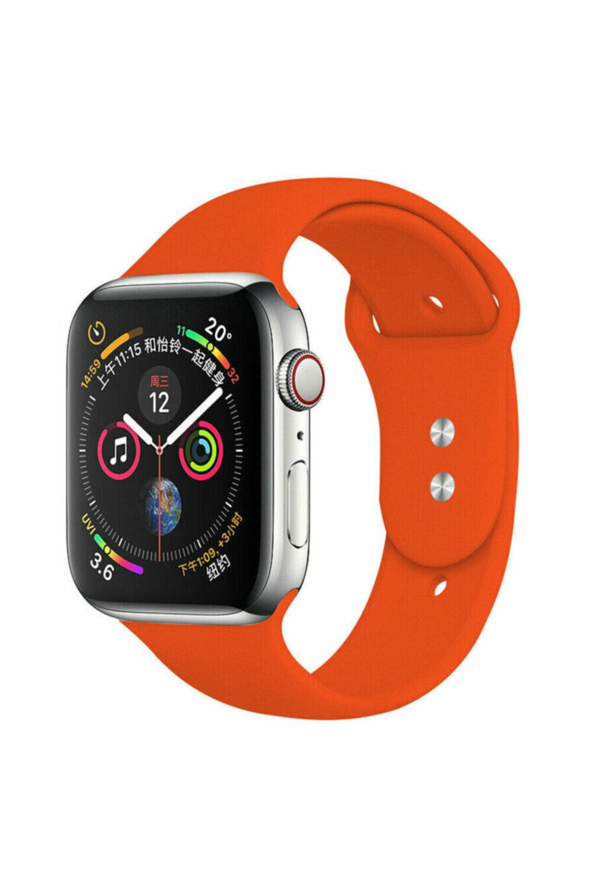 Bilişim Aksesuar Apple Watch 42 44 Mm Silikon Kordon Turuncu 1
