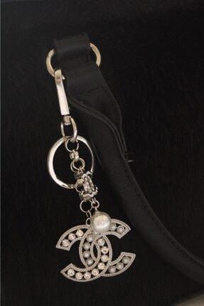 Cherybiju Gümüş Çelik Chan Swarovski Taşlı Inci Detay Anahtarlık Çanta Süsü