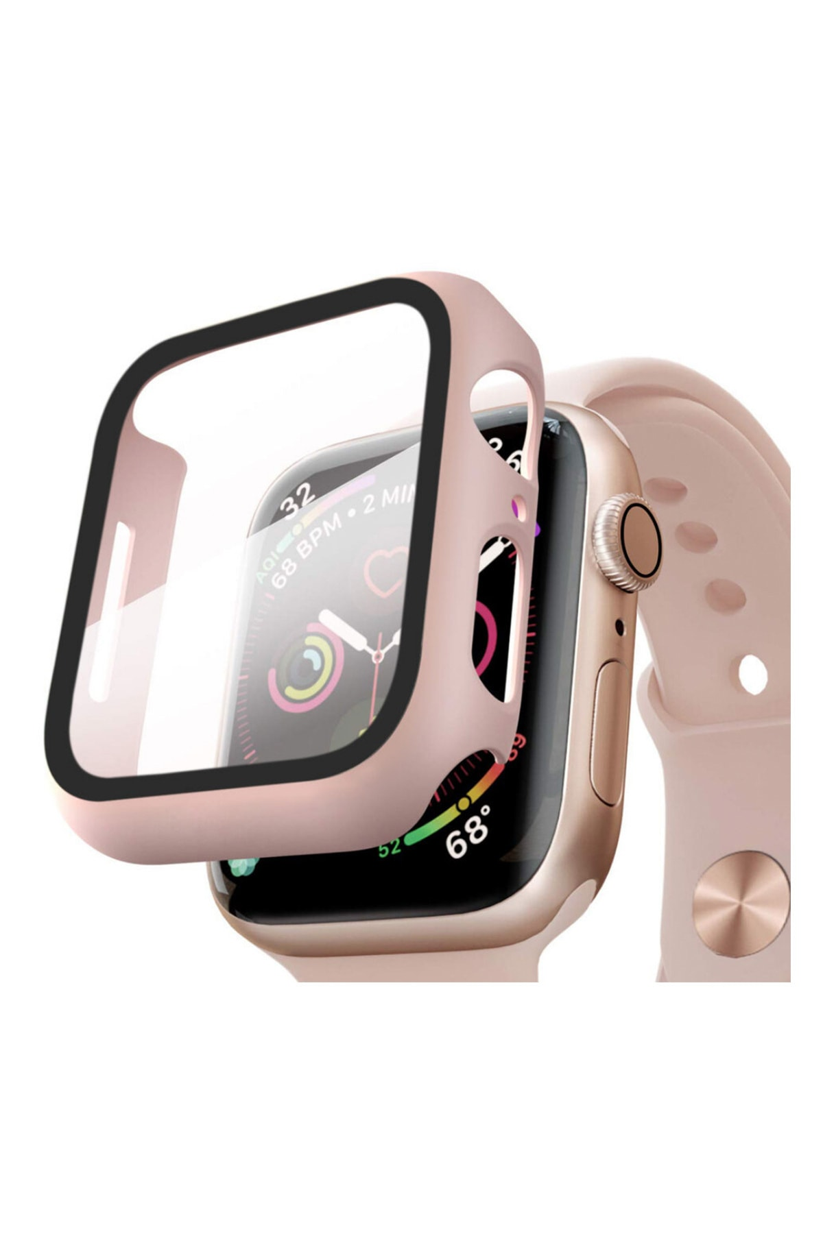 Moserini Apple Watch Series 3 38mm Kılıf Thin Fit - Matte Premium Ekran Koruyuculu Slim Kılıf - Rose Gold 1