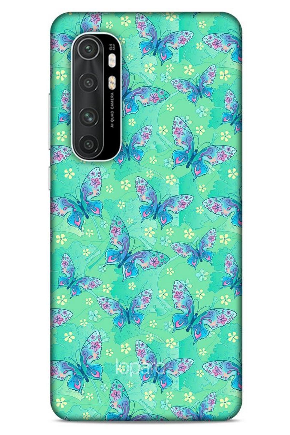 Lopard Xiaomi Mi Note 10 Lite Kılıf Kelebek Etkisi (10) Full Koruma Kılıfı Fuşya Yeşil 1