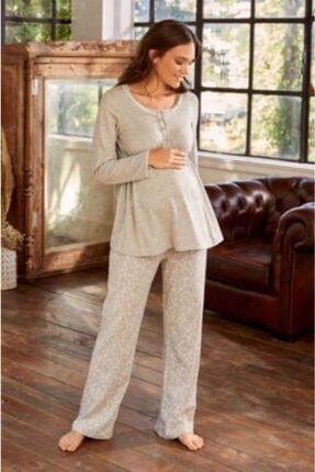Eros Pijama Kadın Gri Lohusa Pijama Takımı Esk27650