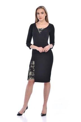 Modkofoni V Yaka Yırtmaçlı Ve Dantel Detaylı Uzun Kollu Siyah Abiye Elbise