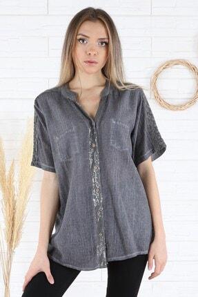 Arlin Kadın Sırtı Kol Dantel Detaylı Cepli Antrasit Gömlek