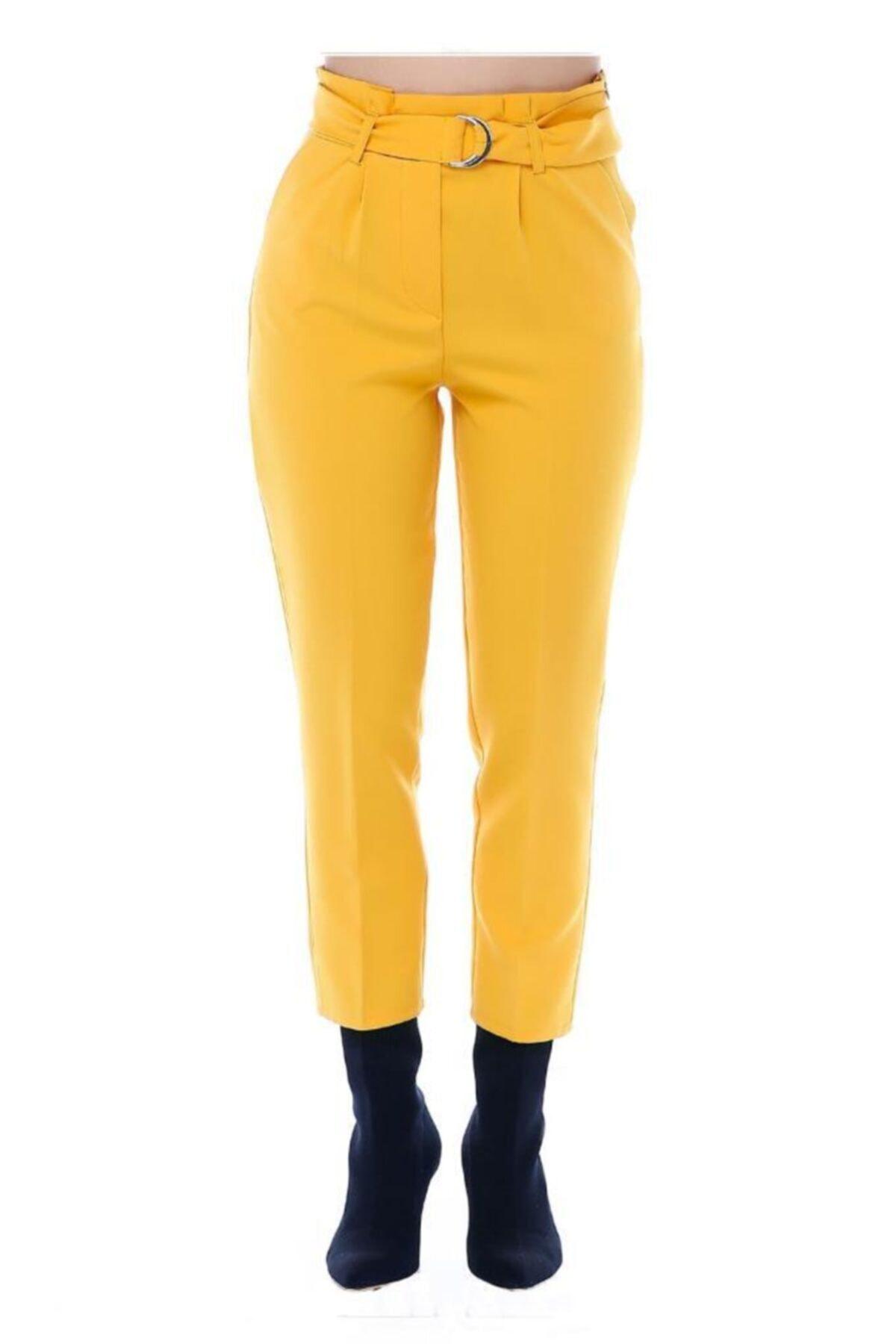 Modkofoni Yüksek Bel Tokalı Sarı Bilek Pantolon 2