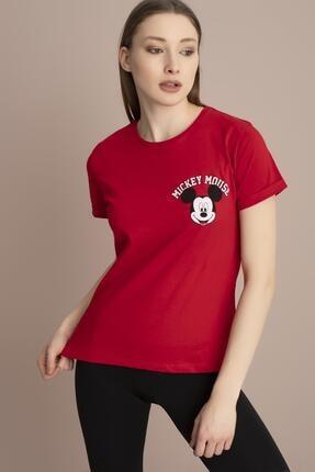 TENA MODA Kadın Kırmızı Bisiklet Yaka Ön Arka Mickey Mouse Baskılı Tişört